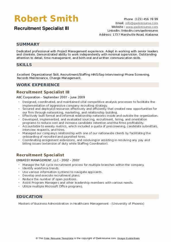 Recruitment Specialist III Resume Template