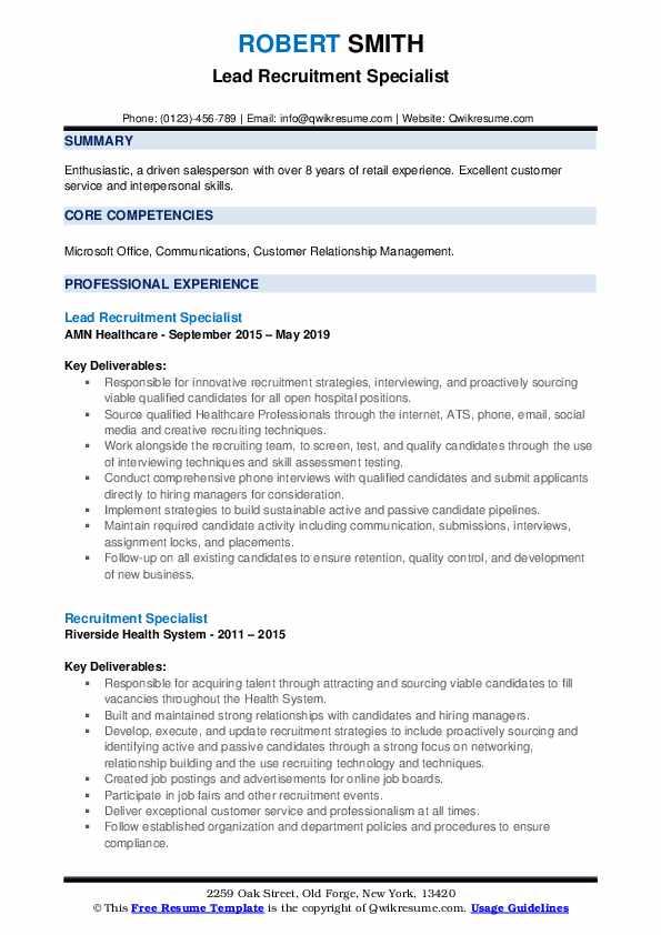 Lead Recruitment Specialist Resume Model