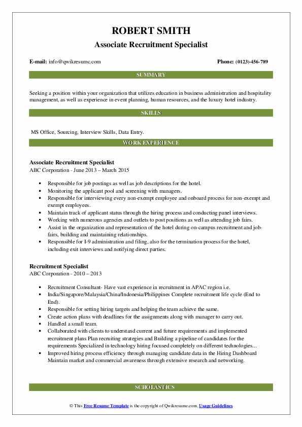 Associate Recruitment Specialist Resume Model