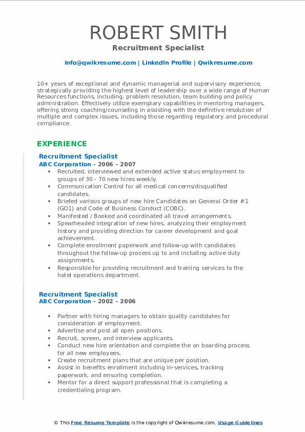 Recruitment Specialist Resume Samples Qwikresume