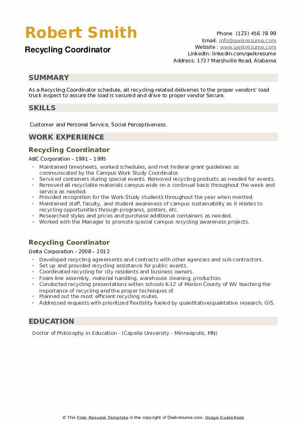 Recycling Coordinator Resume example
