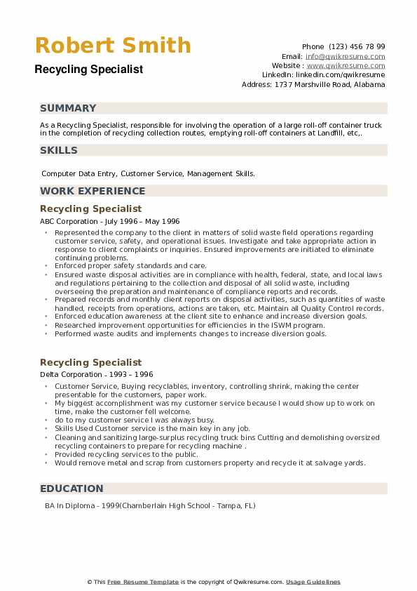 Recycling Specialist Resume example