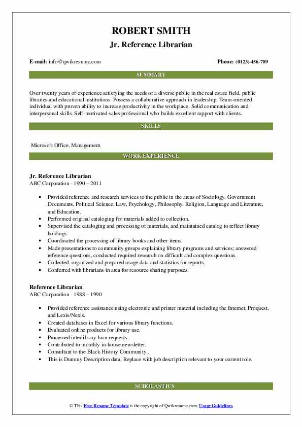 Reference Librarian Resume Samples | QwikResume