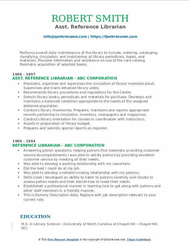 reference librarian resume samples