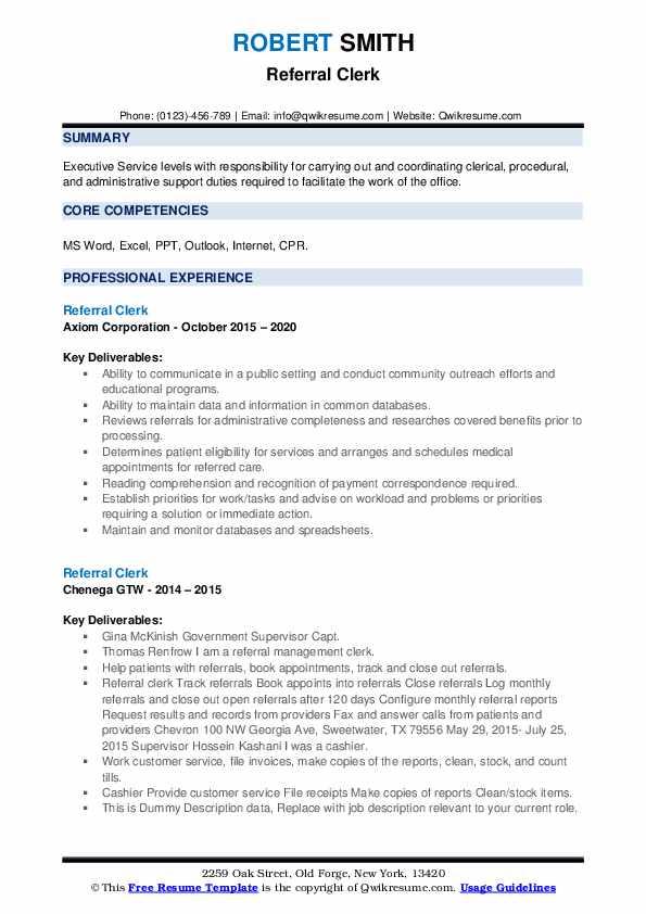 Referral Clerk Resume example