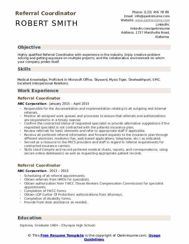 Referral Coordinator Resume Example