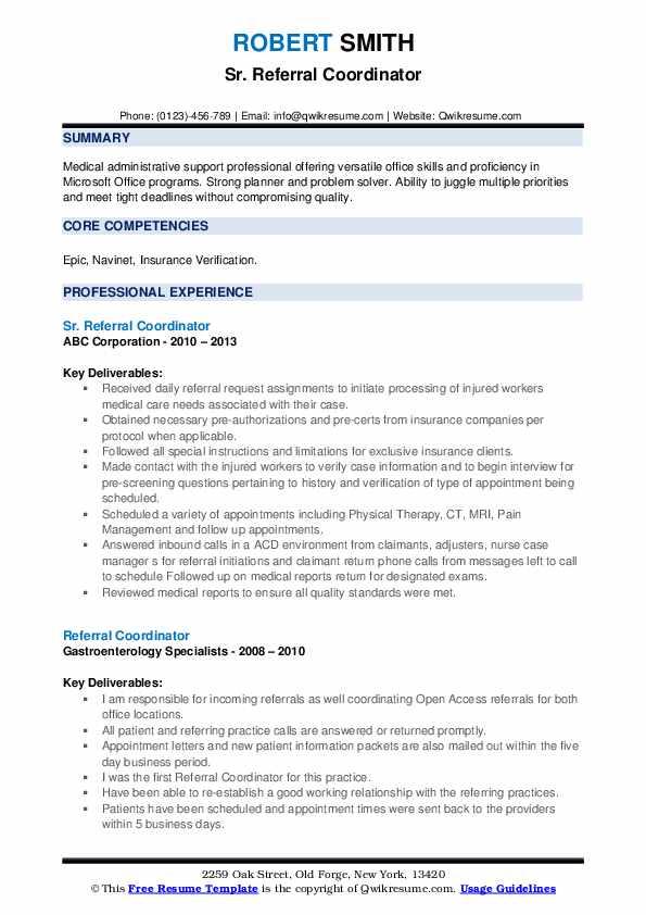 Sr. Referral Coordinator Resume Model
