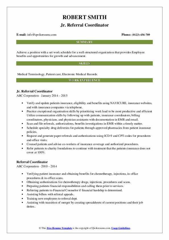 Jr. Referral Coordinator Resume Model