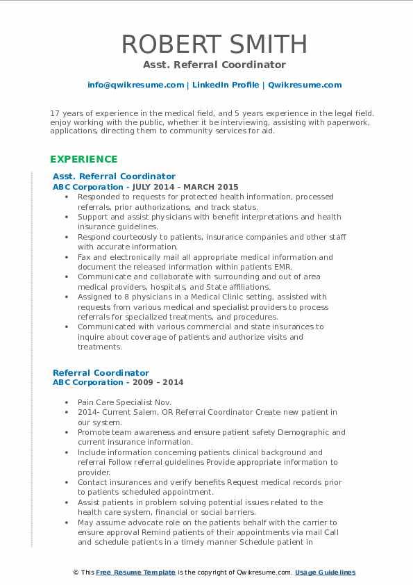 Asst. Referral Coordinator Resume Example