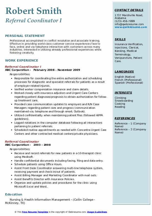 Referral Coordinator I Resume Model