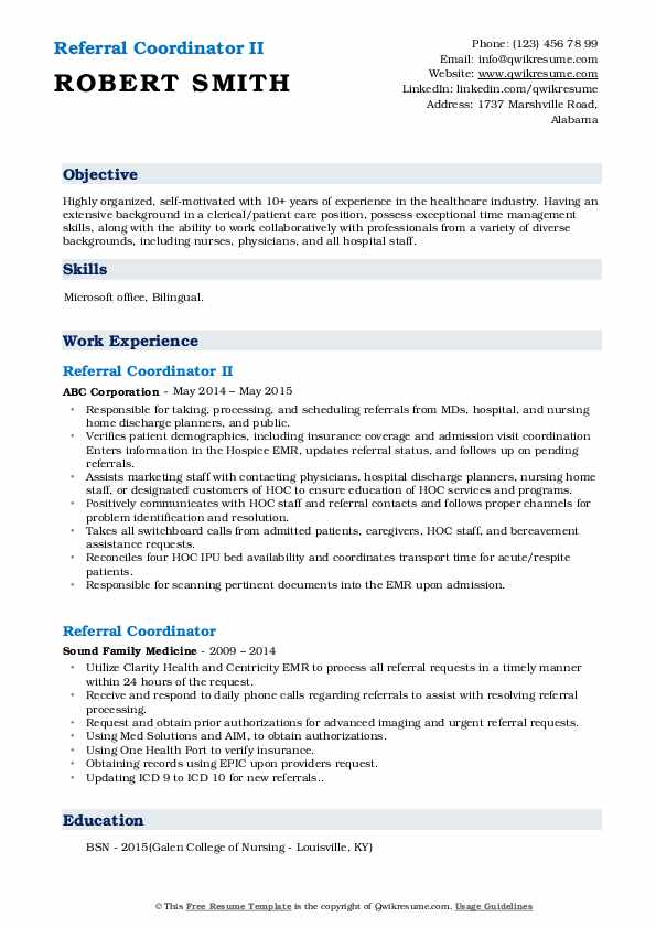 Referral Coordinator II Resume Template