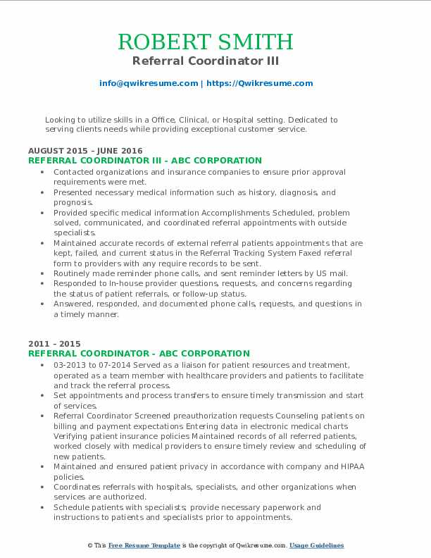 Referral Coordinator III Resume Template