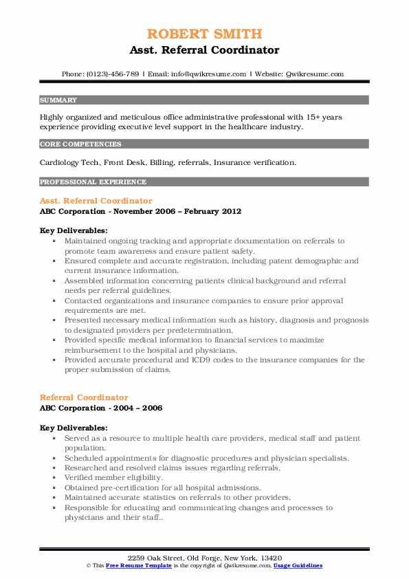 Asst. Referral Coordinator Resume Model