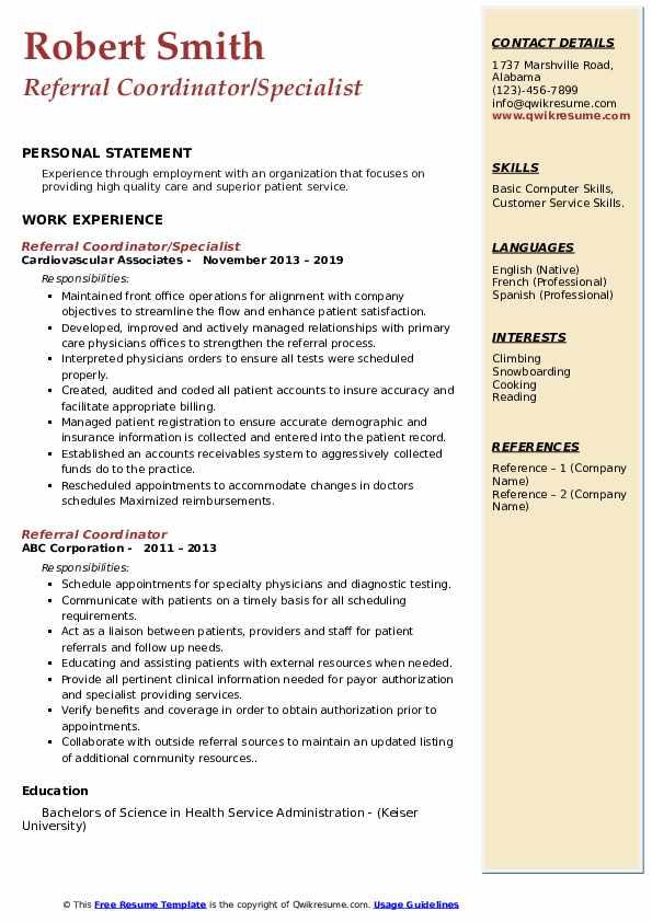 Referral Coordinator/Specialist Resume Example