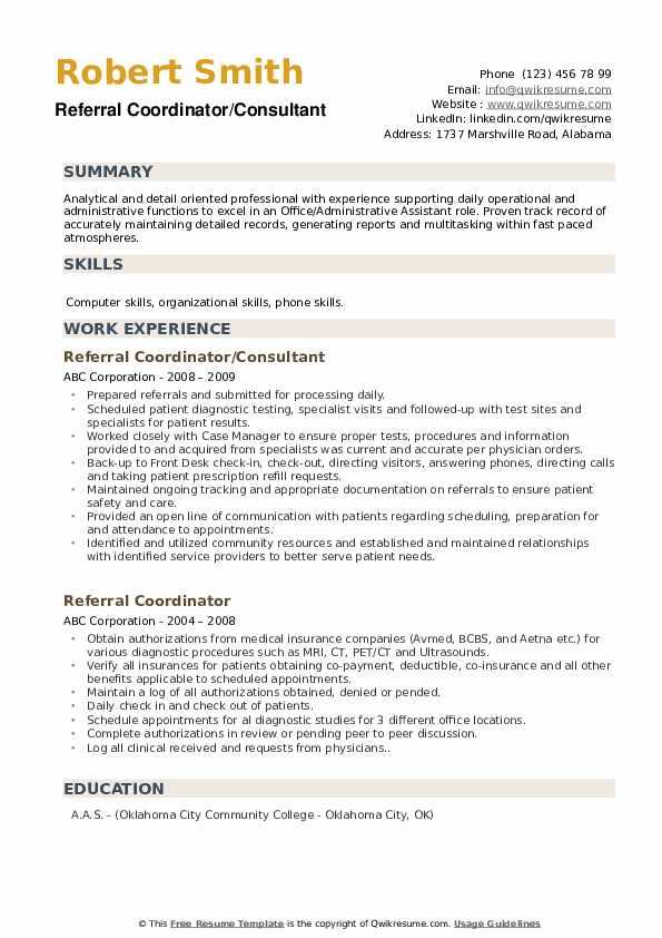 Referral Coordinator/Consultant Resume Format