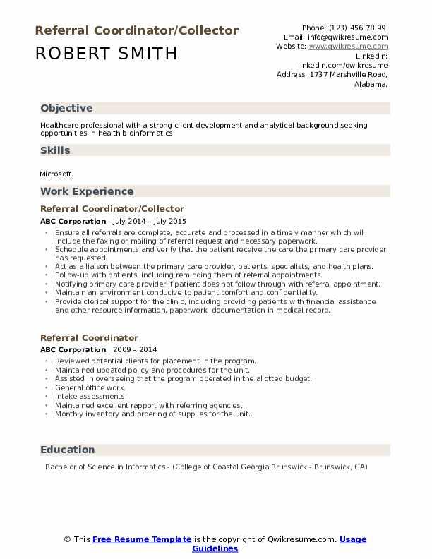 Referral Coordinator/Collector Resume Model