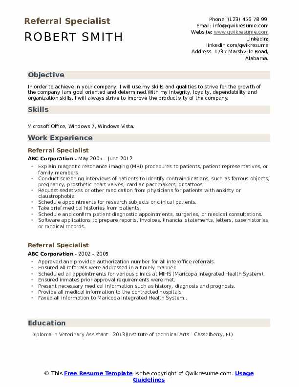 Referral Specialist Resume Template
