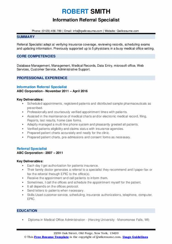 Information Referral Specialist Resume Example
