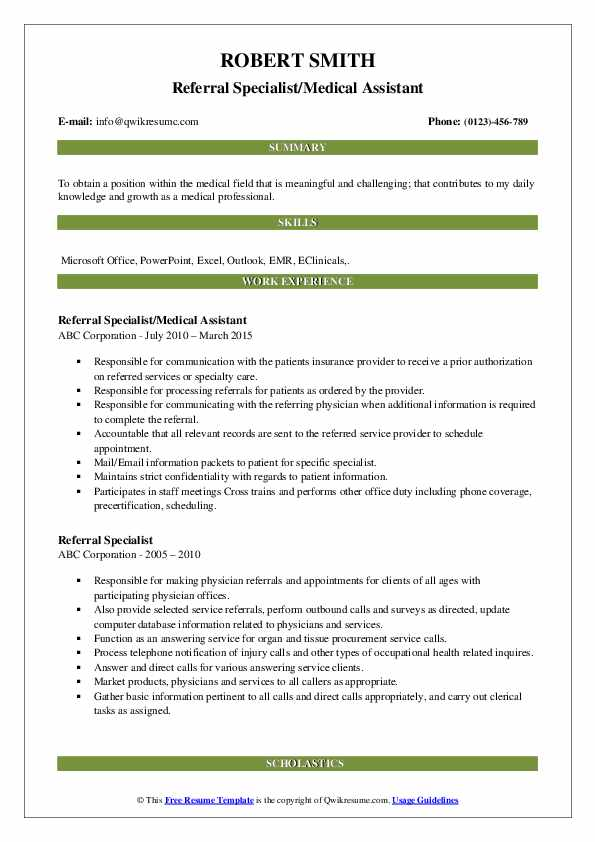 Referral Specialist/Medical Assistant Resume Example