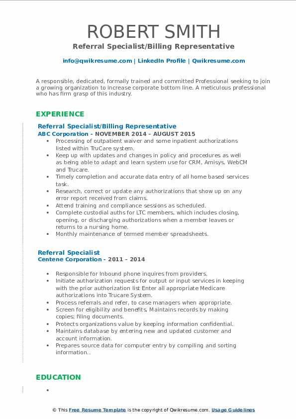 Referral Specialist/Billing Representative Resume Example