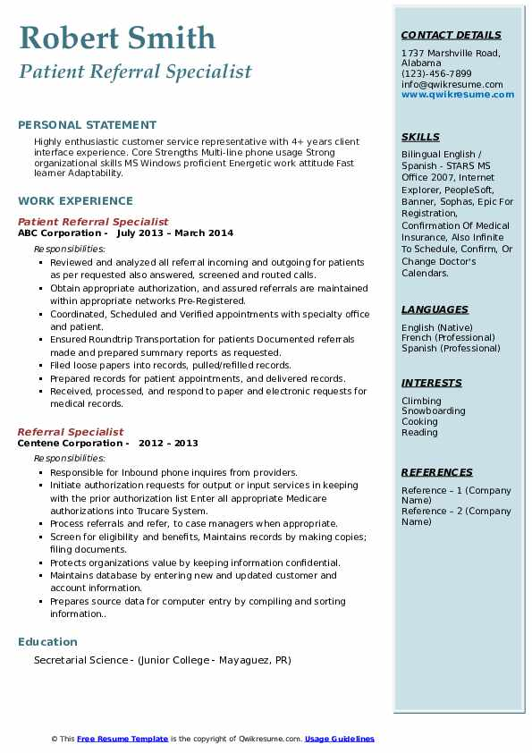 Patient Referral Specialist Resume Template