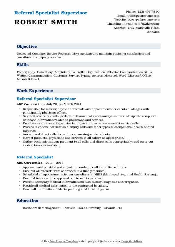 Referral Specialist Supervisor Resume Sample