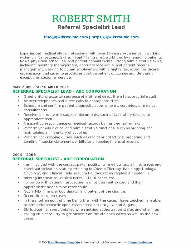 Referral Specialist Lead Resume Template
