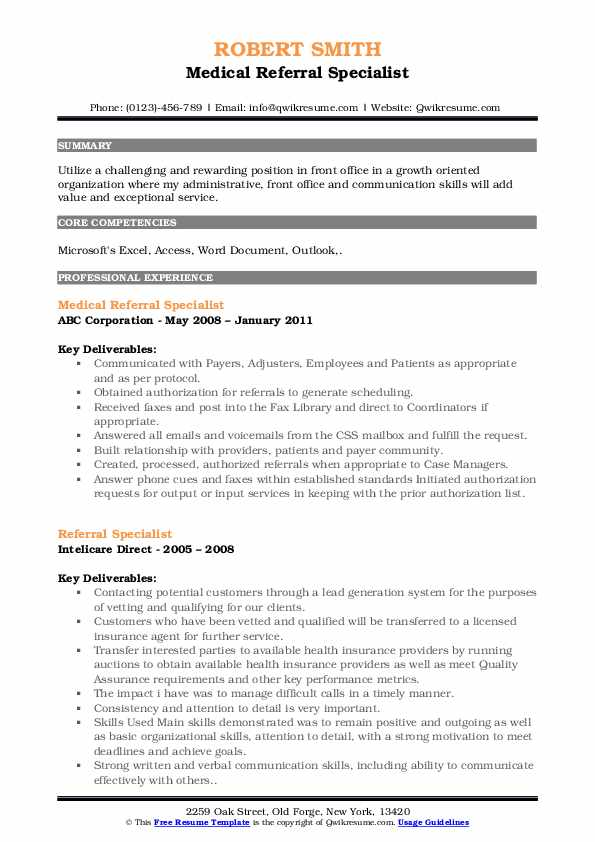 Medical Referral Specialist Resume Model