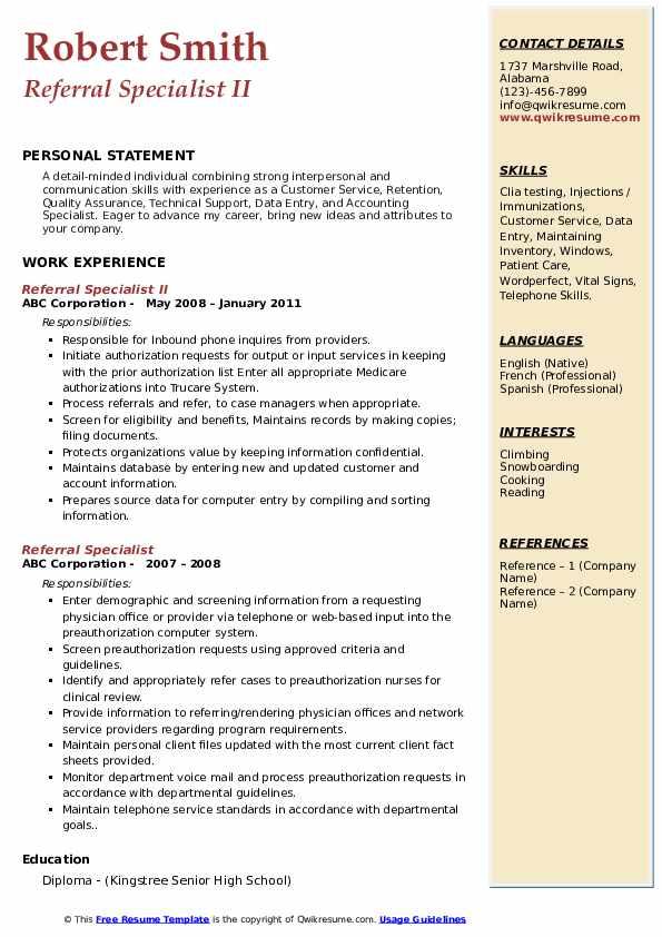 Referral Specialist II Resume Model