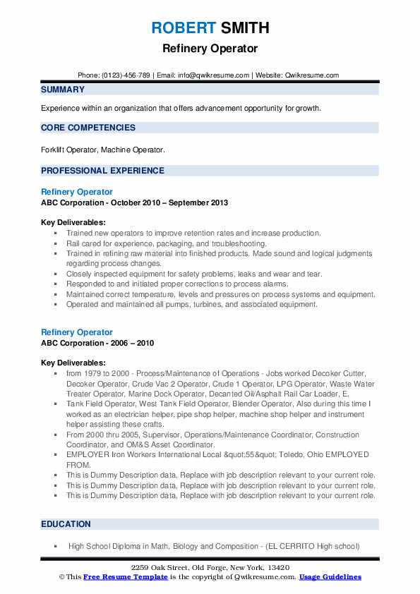 Refinery Operator Resume example