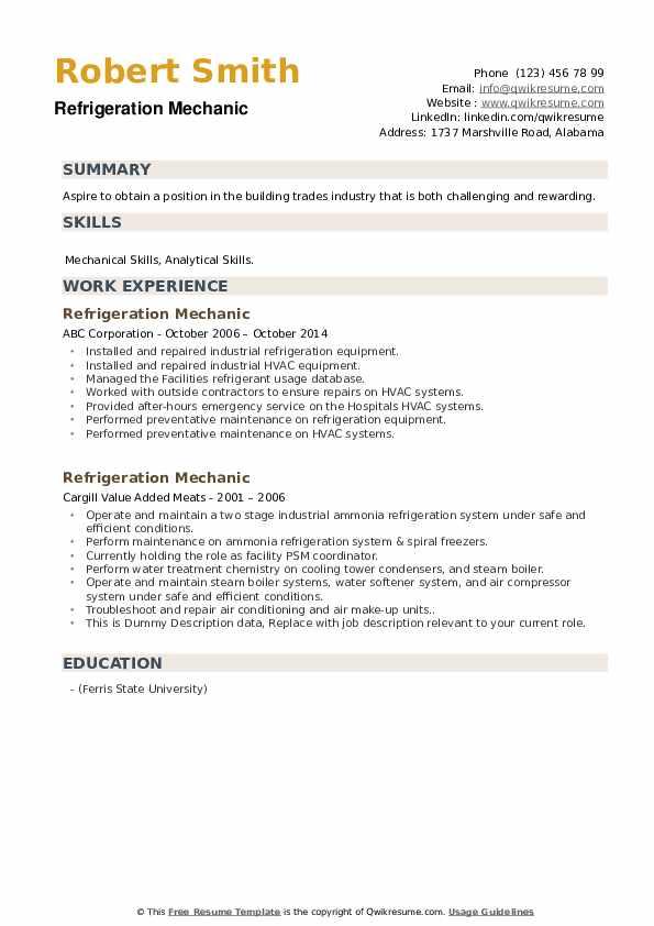 Refrigeration Mechanic Resume example