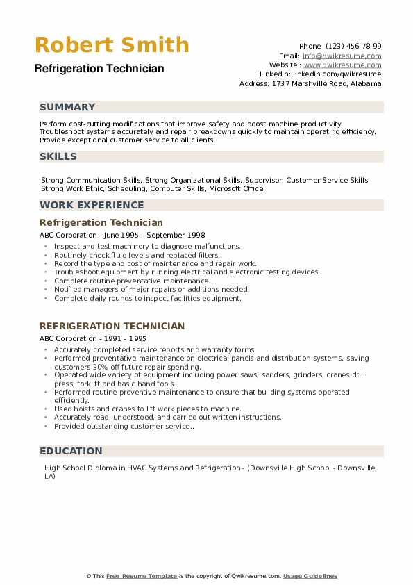 Refrigeration Technician Resume Samples Qwikresume
