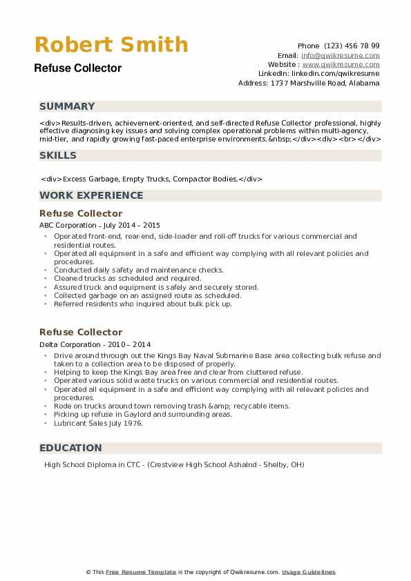 Refuse Collector Resume example