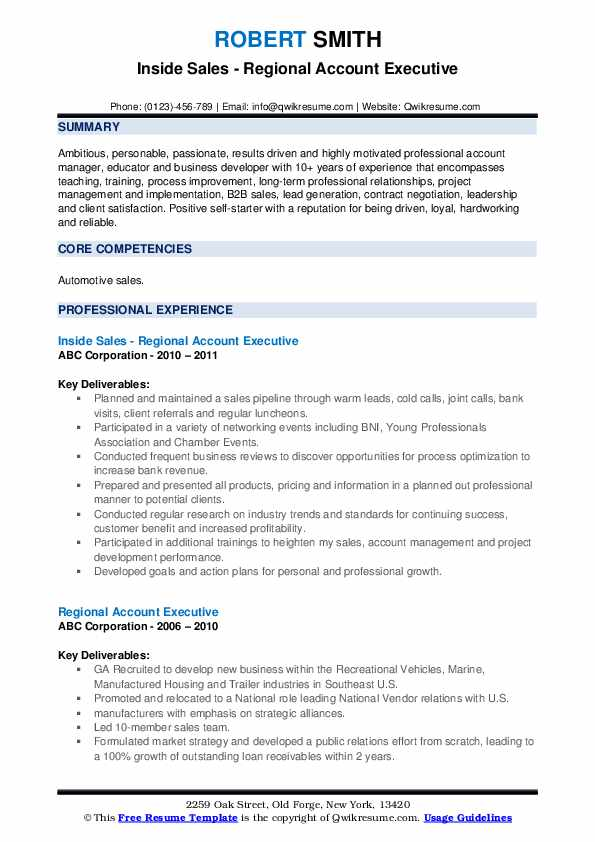 Inside Sales - Regional Account Executive Resume Model