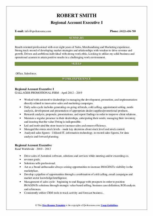 Regional Account Executive I Resume Format