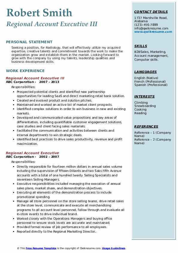 Regional Account Executive III Resume Sample