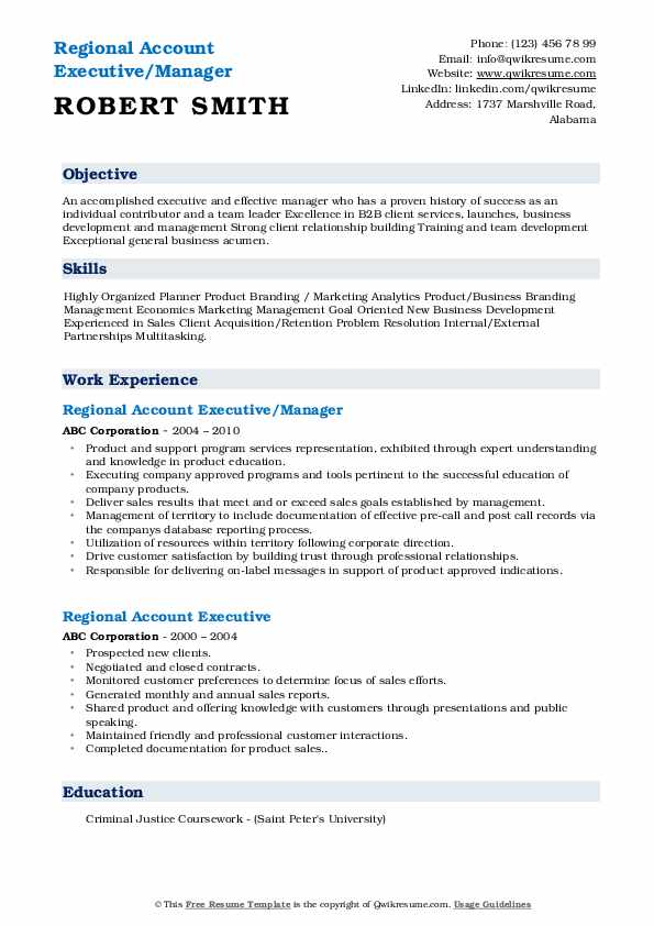 Regional Account Executive/Manager Resume Model