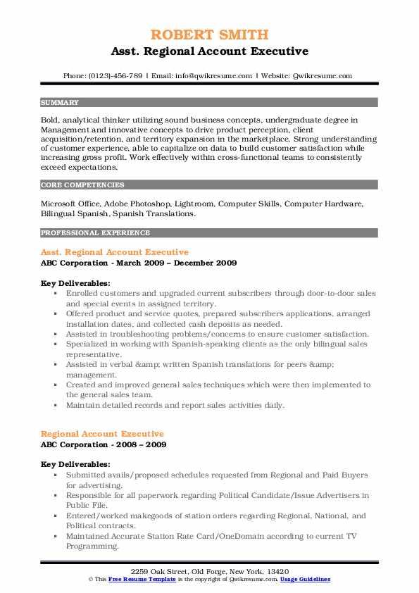 Asst. Regional Account Executive Resume Sample