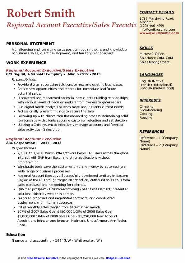 Regional Account Executive/Sales Executive Resume Model
