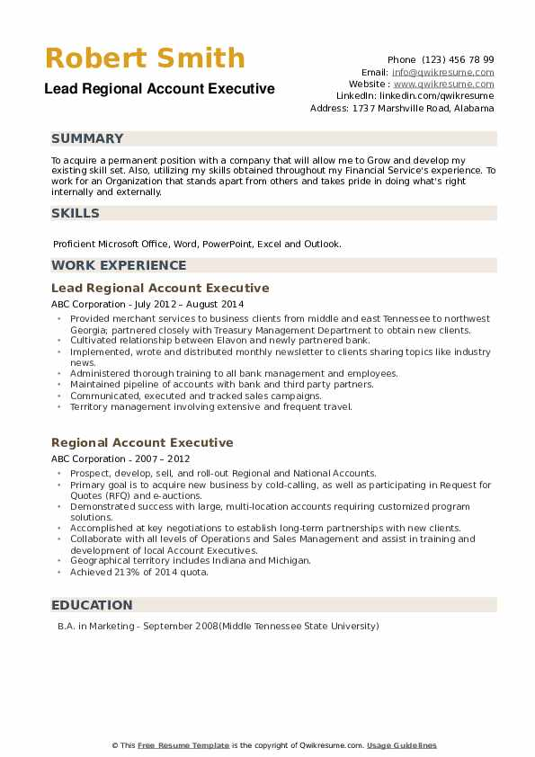 Lead Regional Account Executive Resume Sample