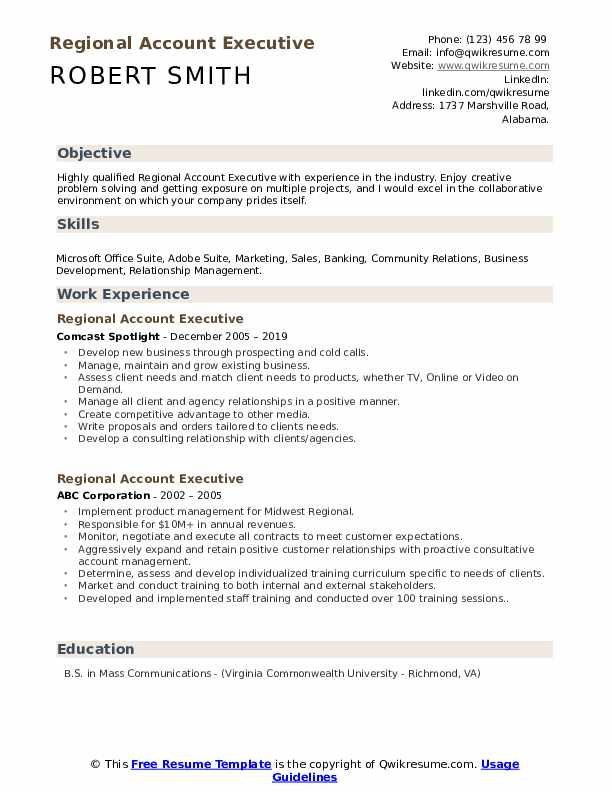 Regional Account Executive Resume example