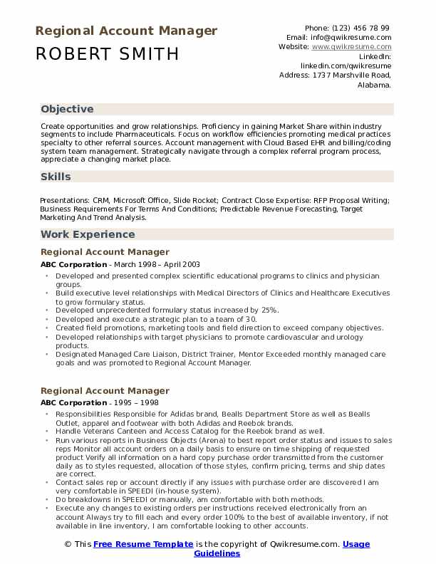 Regional Account Manager Resume Template