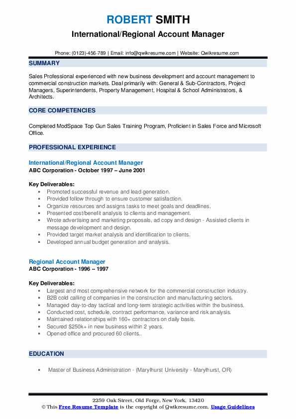 International/Regional Account Manager Resume Format