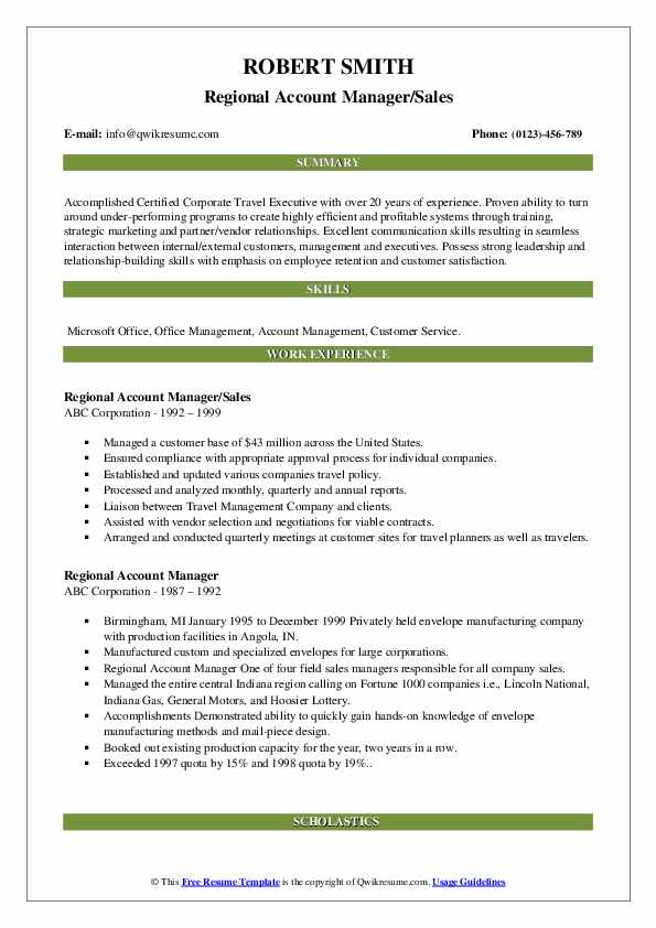 Regional Account Manager/Sales Resume Sample