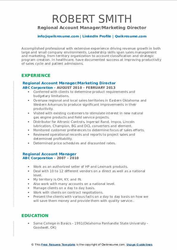 Regional Account Manager/Marketing Director Resume Sample