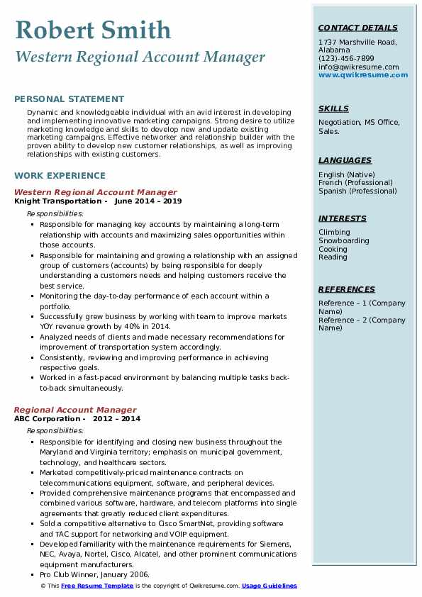 Western Regional Account Manager Resume Model