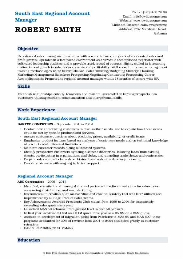 South East Regional Account Manager Resume Template