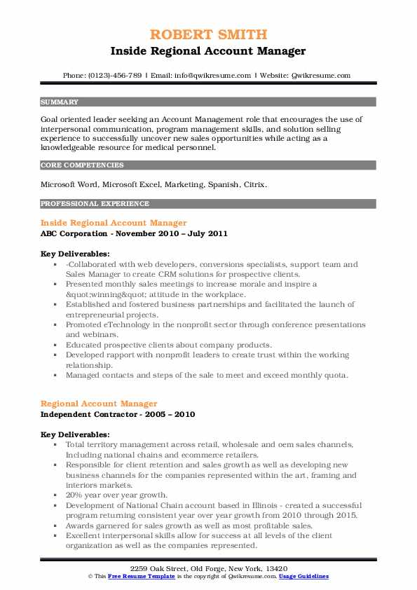 Inside Regional Account Manager Resume Template