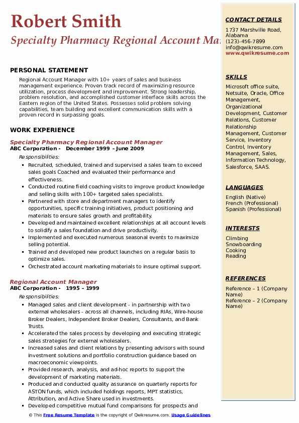 Specialty Pharmacy Regional Account Manager Resume Format
