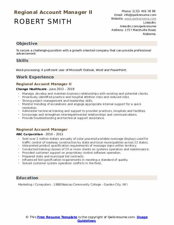 Regional Account Manager II Resume Example
